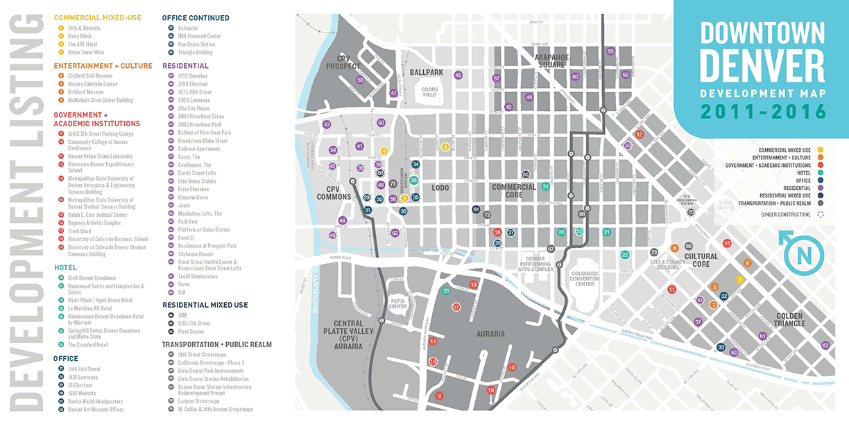 Map Of Downtown Denver Co Downtown Denver Development Map Highlights $4.4B in Total