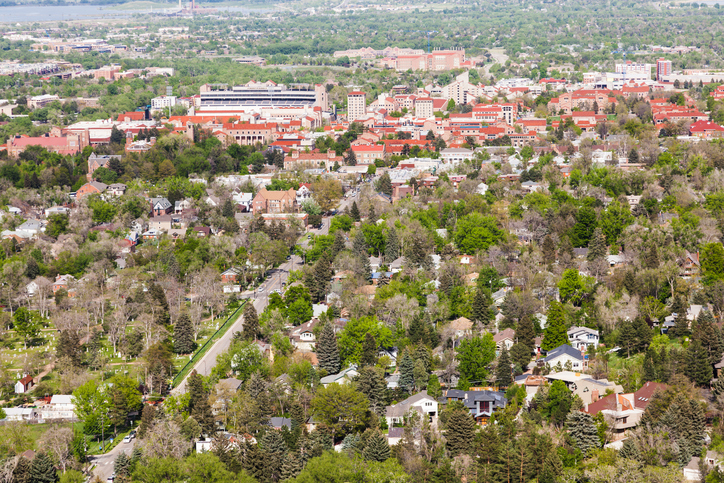 Aerial view of Boulder in Colorado