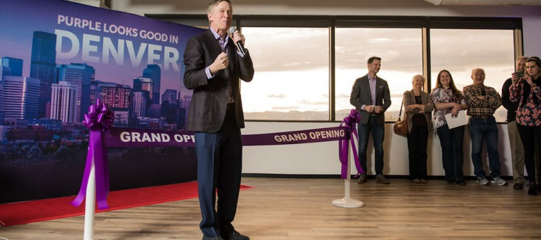 Colorado Governor John Hickenlooper along with Marketo CEO Steve Lucas lead the celebration to open the new Marketo office in Denver. This expansion created 200 jobs in the Mile High City, with plans to grow the Denver team to 500 by the end of this year. (PRNewsfoto/Marketo, Inc.)