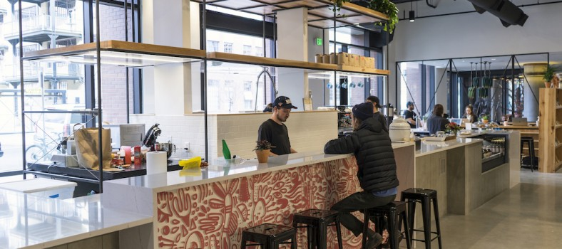 Huckleberry Roasters located in the lobby at Dairy Block.