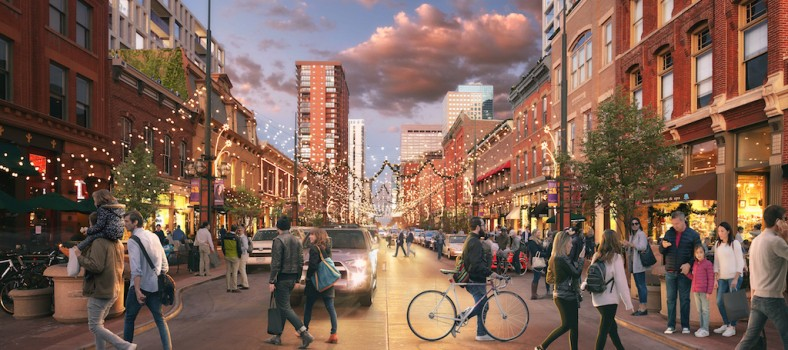 Rendering of Larimer Square following proposed project completion.
