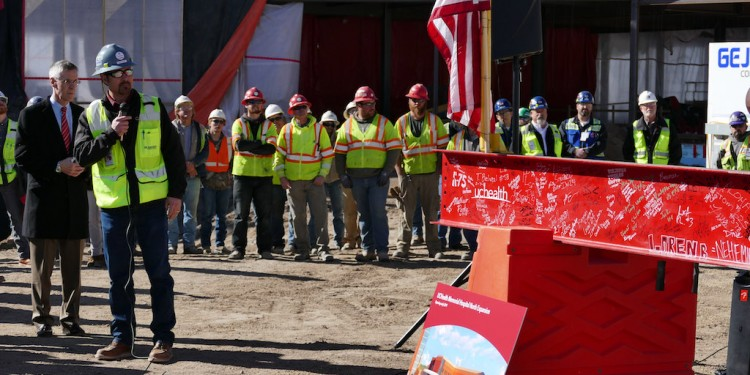 GE Johnson celebrate the topping out of a large expansion project at UC Health's Memorial Hospital North in Colorado Springs.